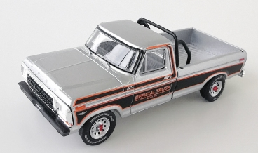 gallery/79 f-100 pace truck silver gl bruks 1a hobby exclusive 1979 indianapolis 500 race svart orange stripes svart inredning
