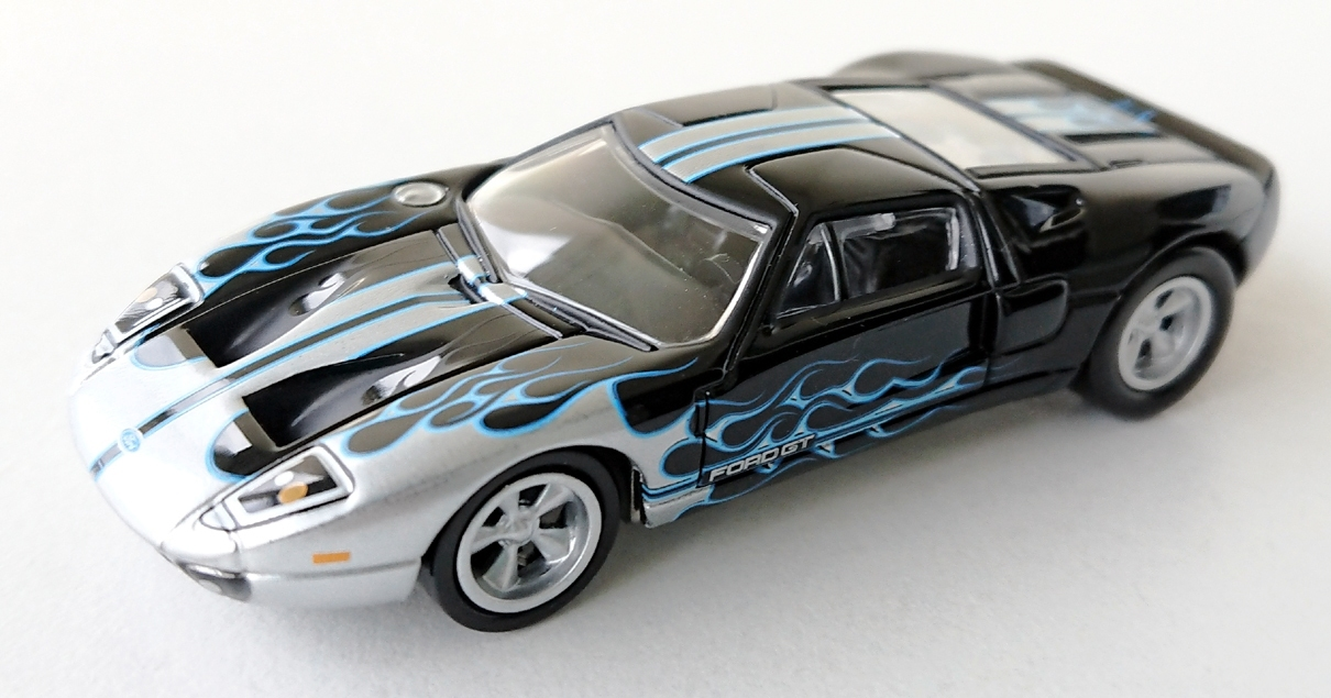gallery/2005 ford gt gloss black silver jl bruks 1a 2017 street freaks r1 black with flames no 5 version b silver blå stripes flames mittmotor svart inredning